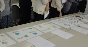 各ロゴマークの説明を終え、パネルを並べて比較しながら細部を確認。