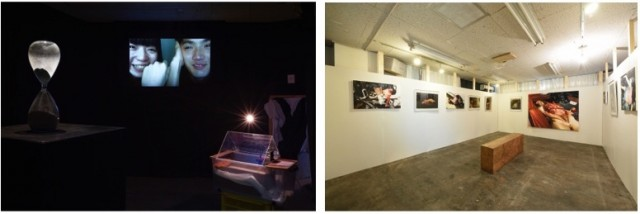 (左)天才ハイスクール!!!!展覧会「GenbutuOverDose」撮影:森田兼次 (右)笹山直規+釣崎清隆展覧会「IMPACT」撮影:酒井透
