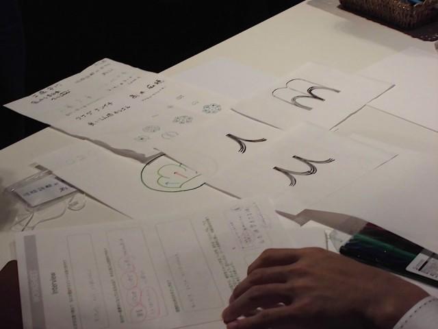 インタビューシートを見ながら自問自答。キーワードを基に頭に浮かんだ文字や図を描き出す。
