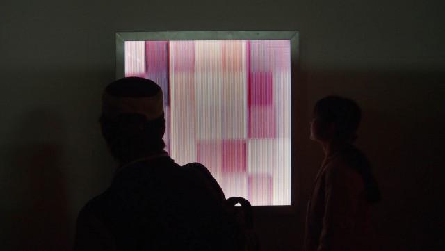 セクシュアリティをテーマにした長尾郁明氏の作品(TANA Studio にて)。ポルノビデオの女性器のイメージをグリッドに還元している。